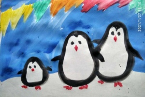 Онлайн урок рисования. Пингвины